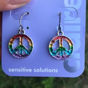 Claire's Jewelry - Peace Sign Rainbow Earrings